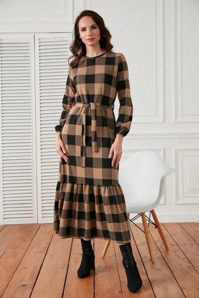 Altı Pileli Kemerli Ekose Elbise
