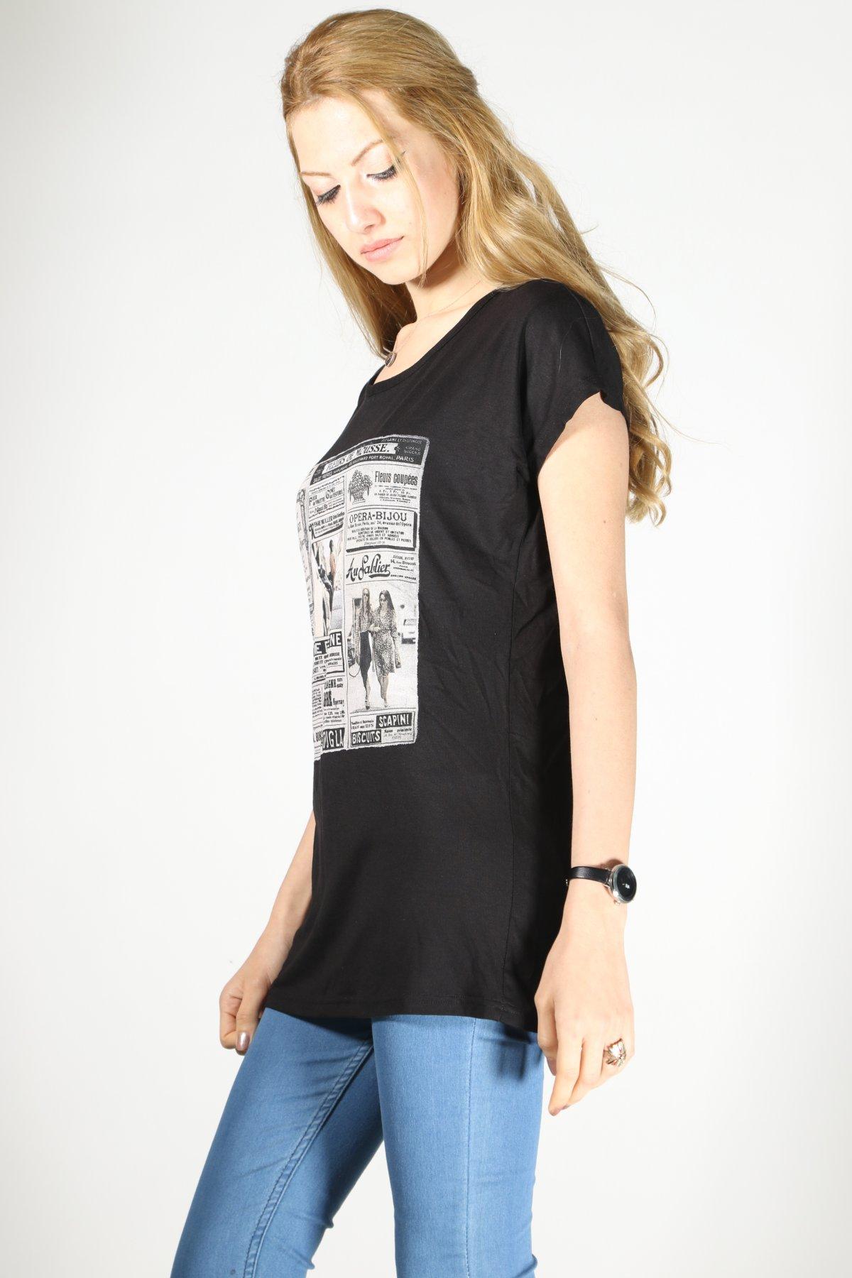 Gazete Baskı T-shirt