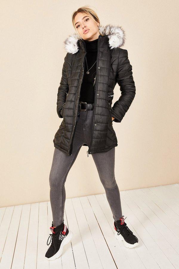 Fashion Şerit Kuşgöz Mont