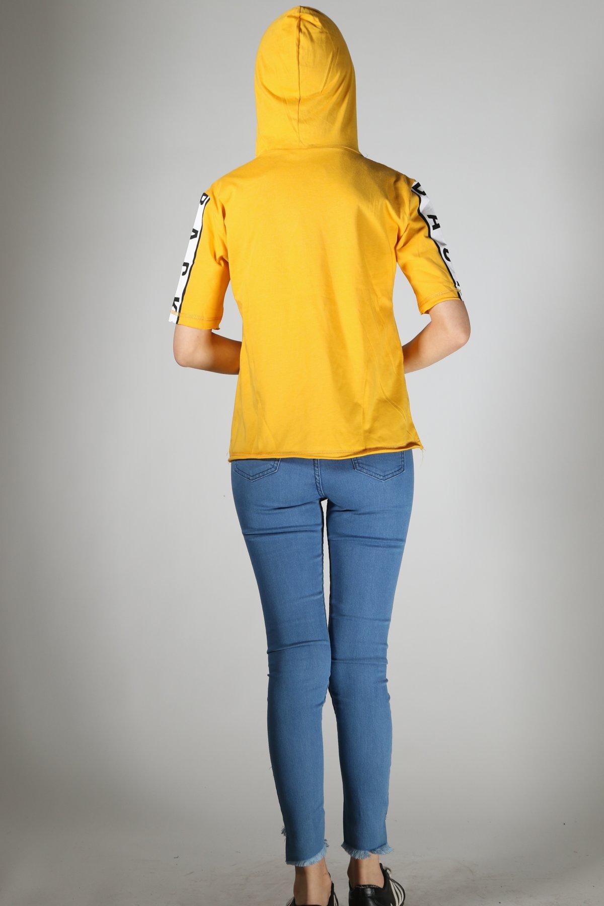 Black Off Baskı Kapşonlu T-shirt