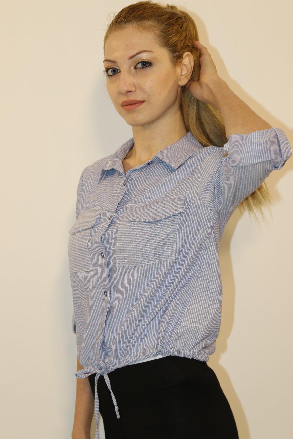 Çizgili Bağlamalı Gömlek