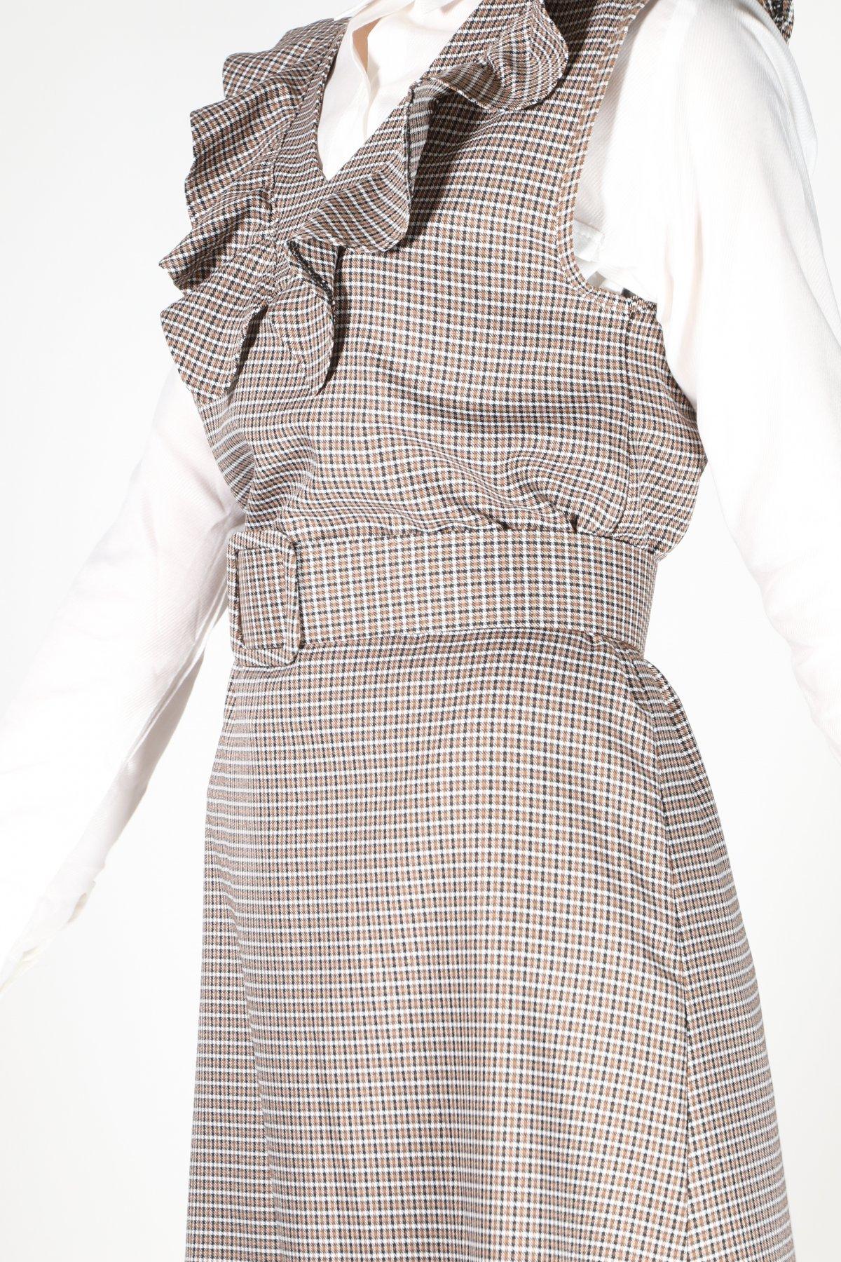 Yaka Fırfır Ekose Elbise