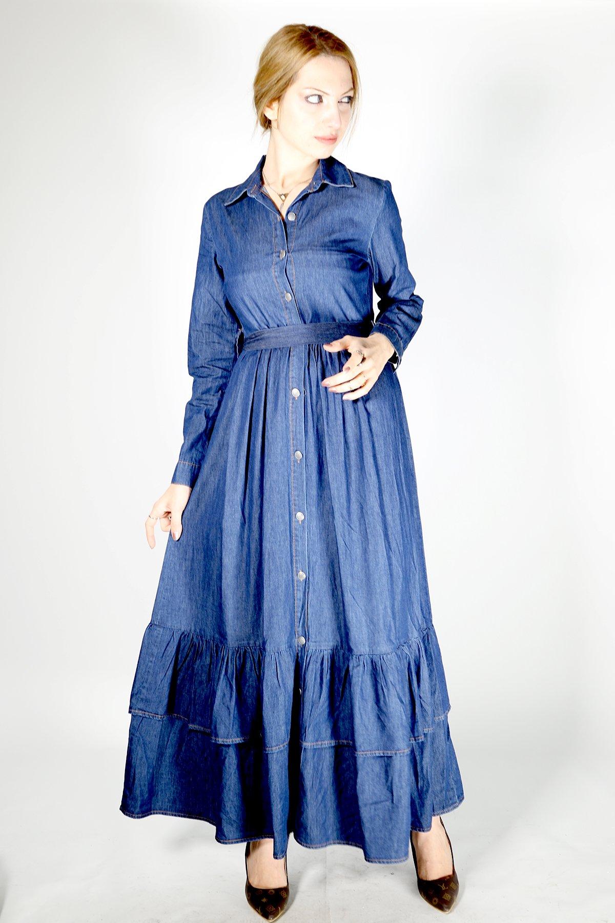 Fırfırlı Kemerli Kot Elbise