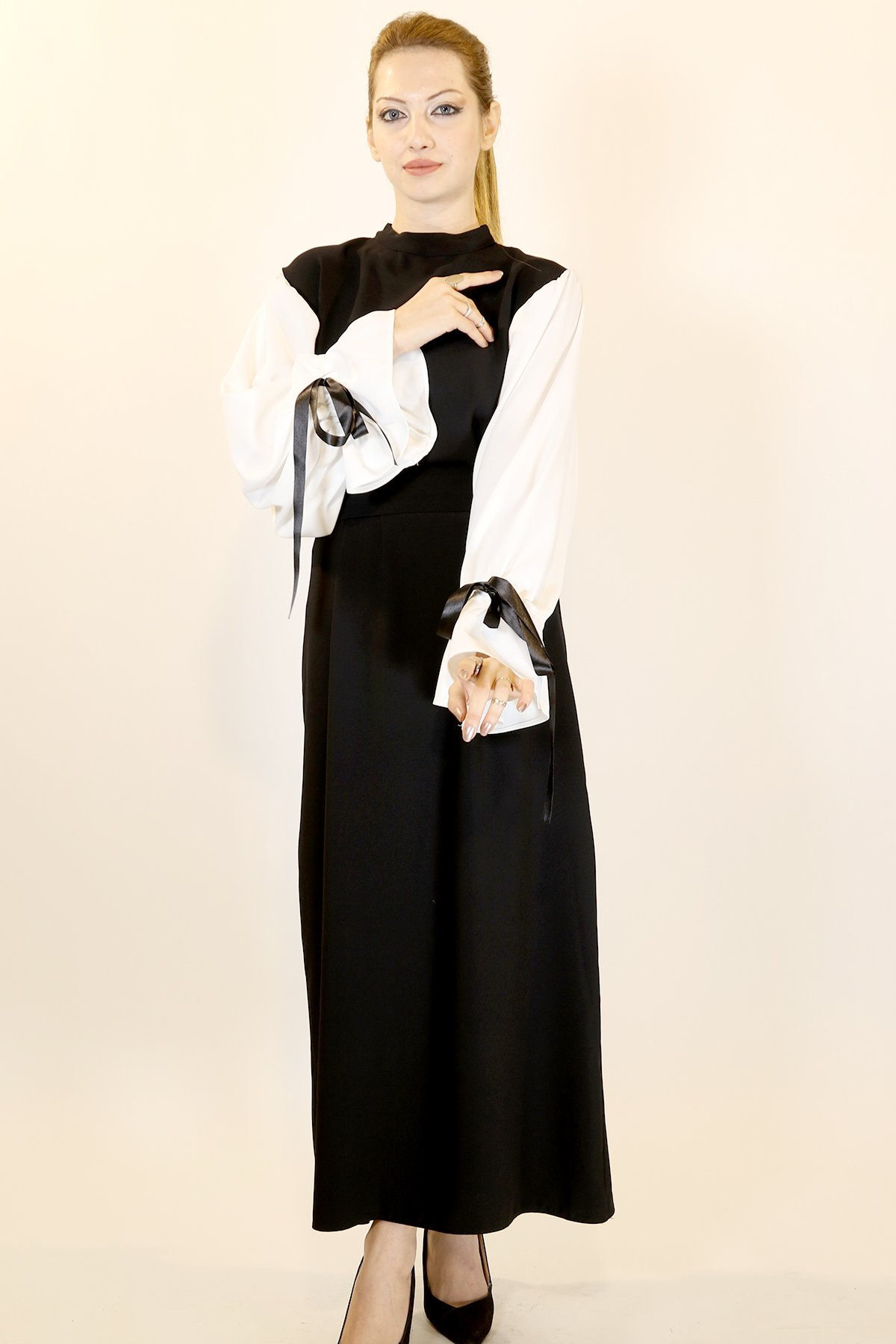 Kol Ucu Bağlama Sırt Fermuar Elbise