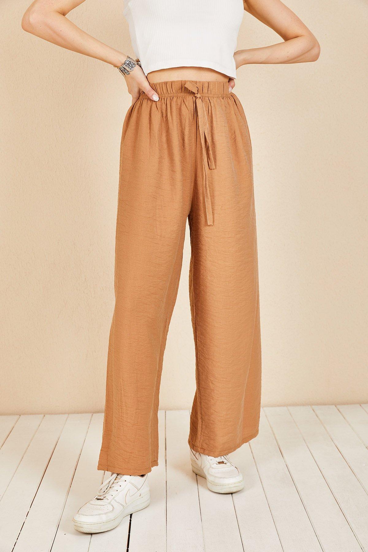 Duble Paça Bel Bağcık Pantolon