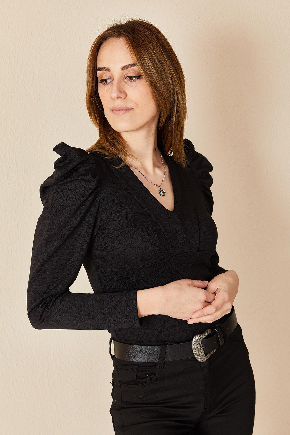 Kol Büzgülü V Yaka Scuba Bluz