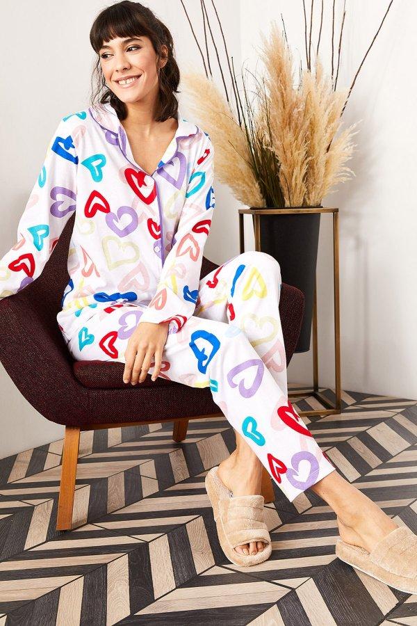 Desenli Örme Pijama Takımı
