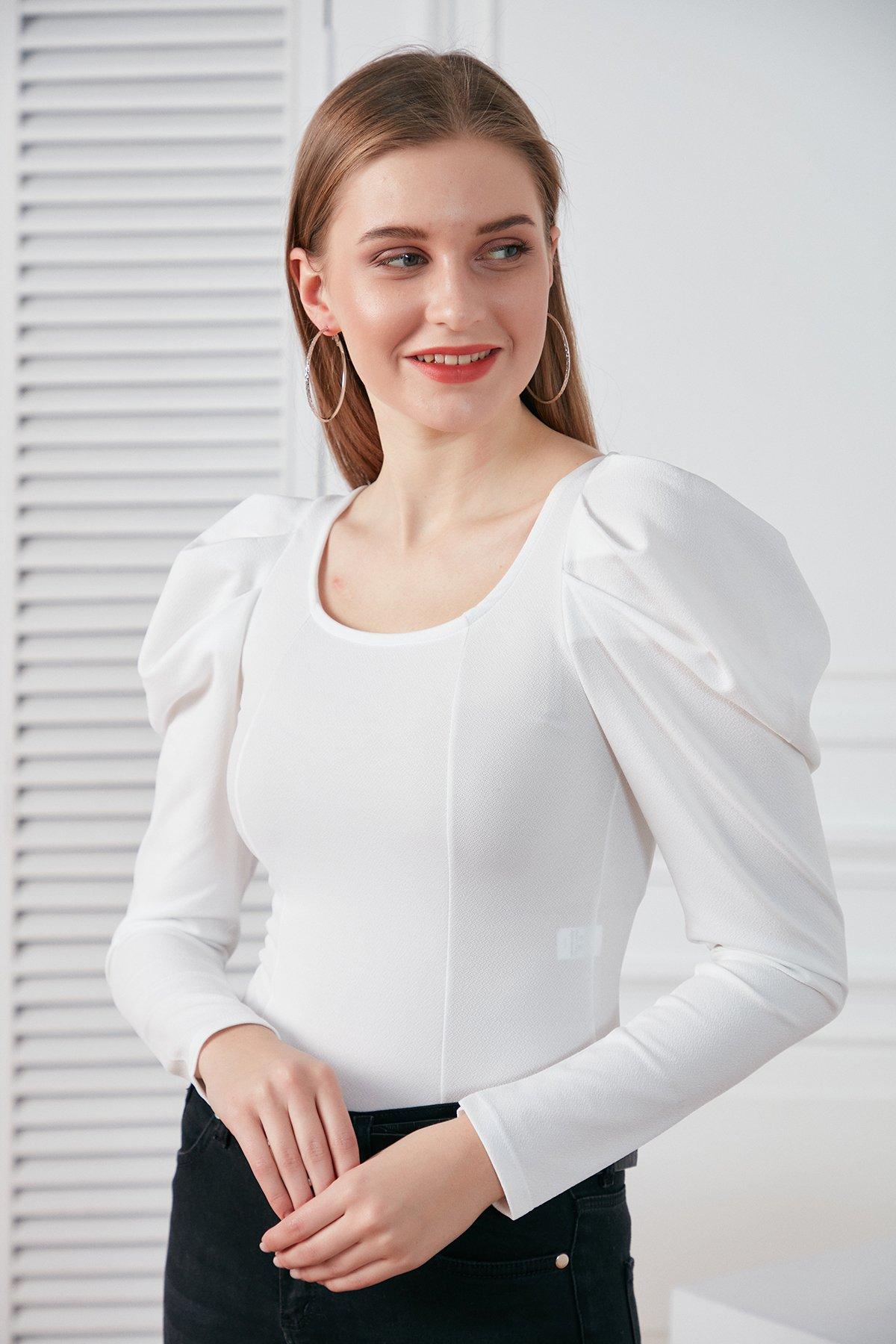 Kol Detay Scuba Penye Bluz