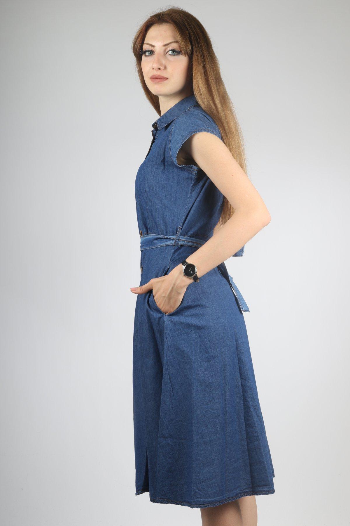 Sıfır Kol Kemerli Elbise