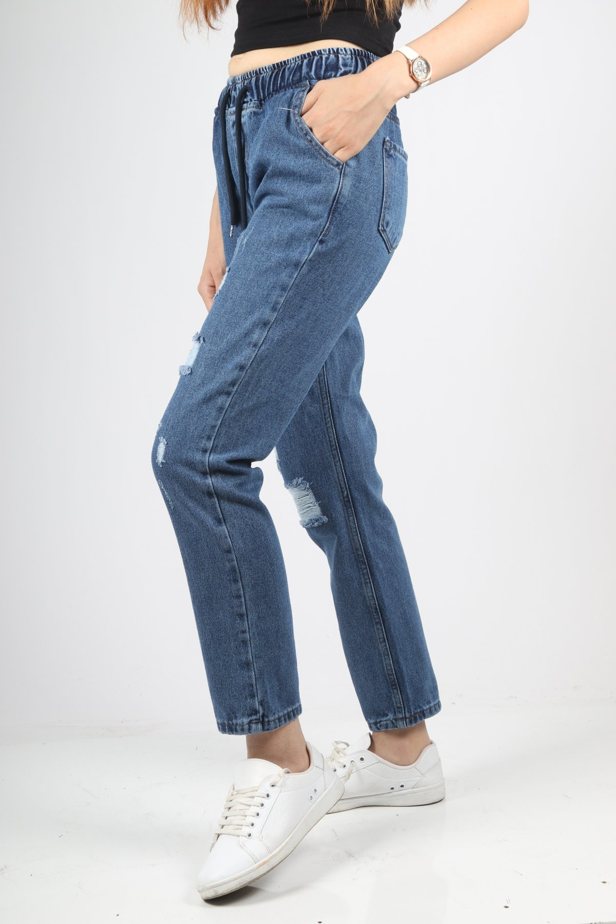 Lazer Kesim Bel Lastik Bağcık Pantolon