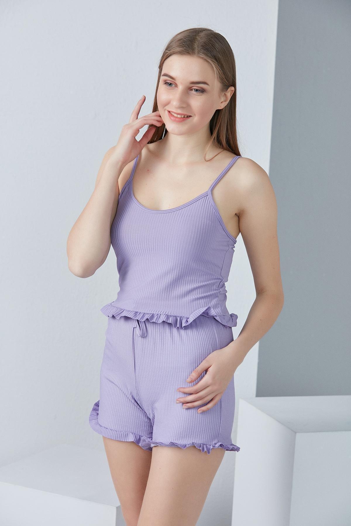 Askılı Fırfırlı Pijama Takımı