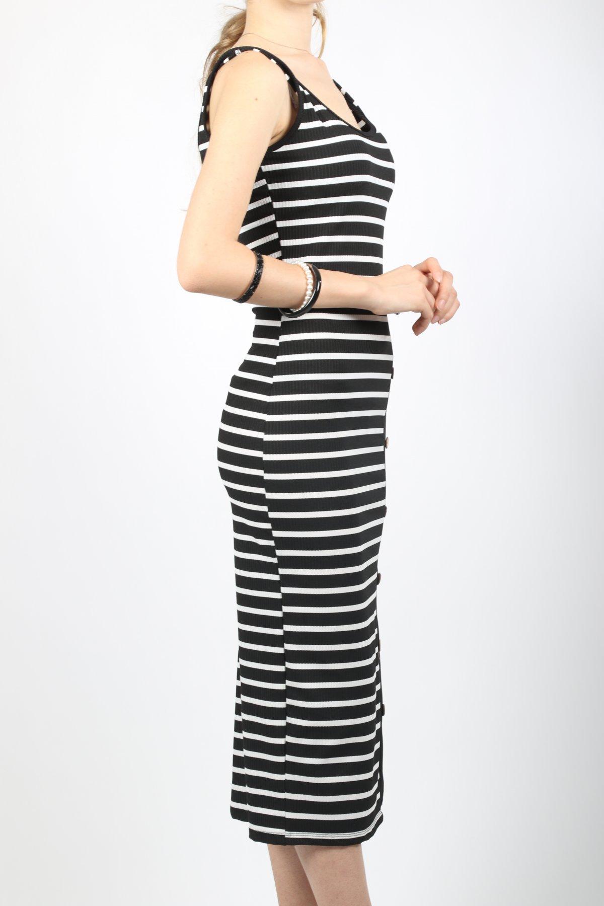 Askılı Garnili Düğmeli Elbise