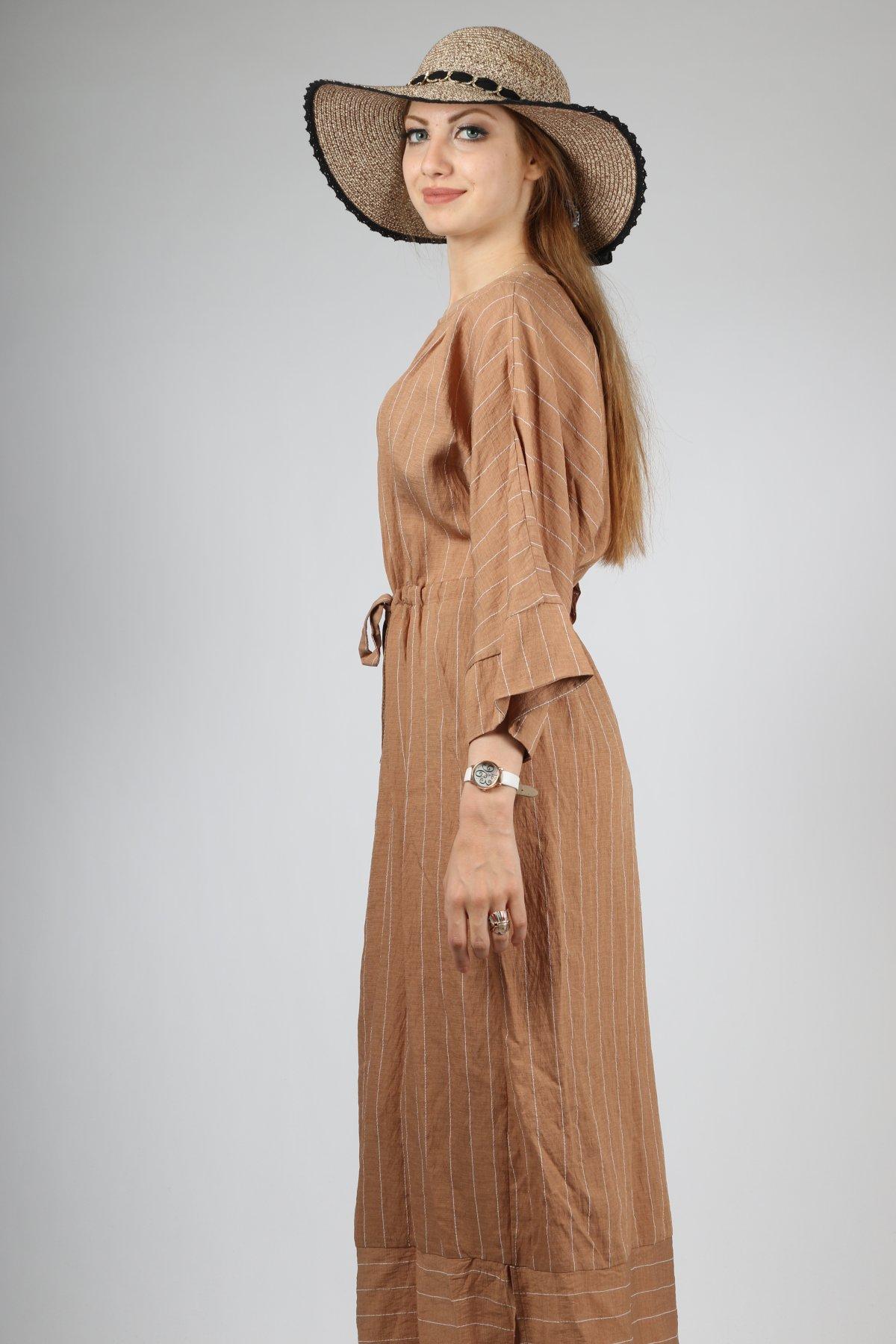 Çizgili Ağaç Kabuğu Beli İpli Elbise