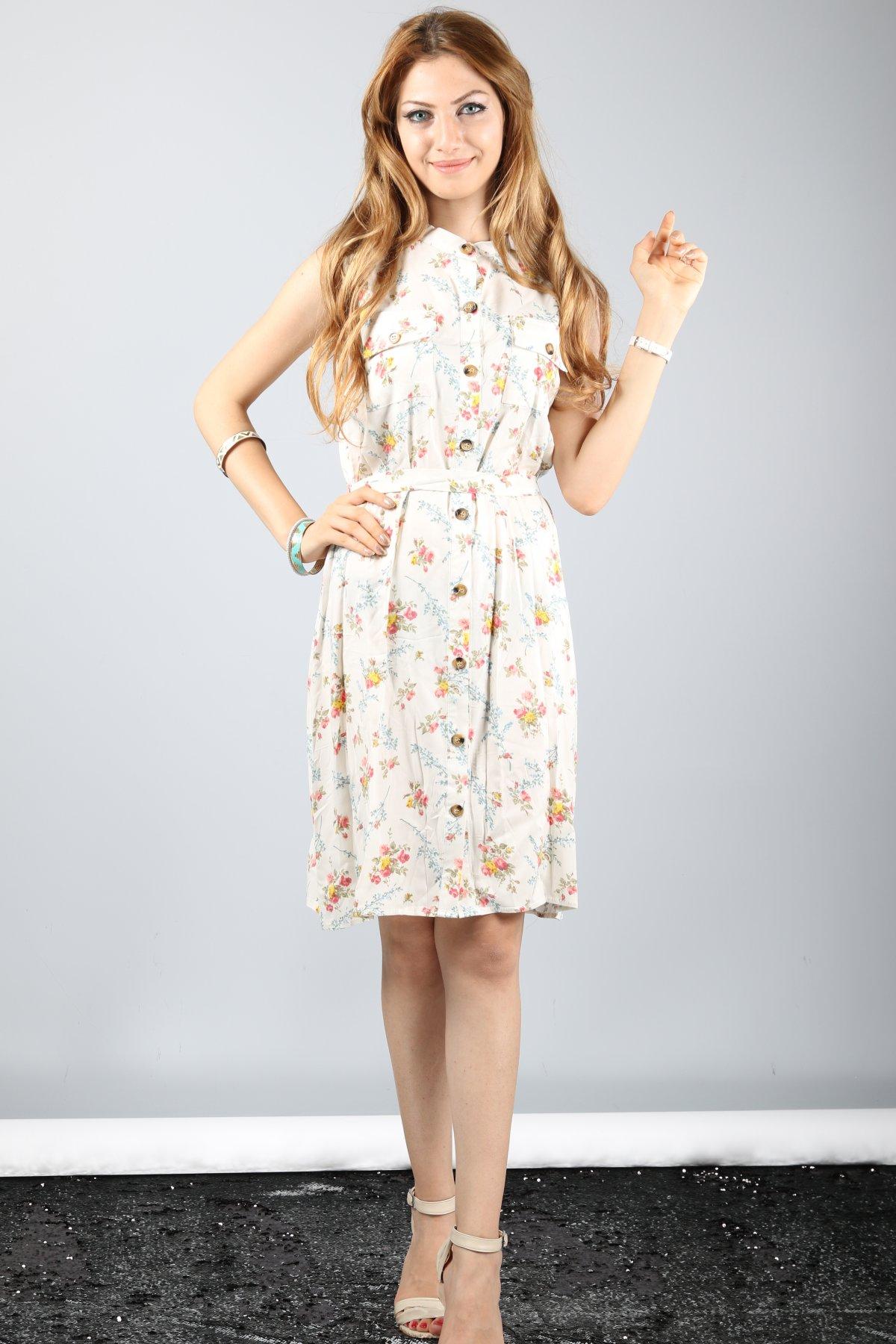 Sıfır Kol Çiçek Desen Elbise