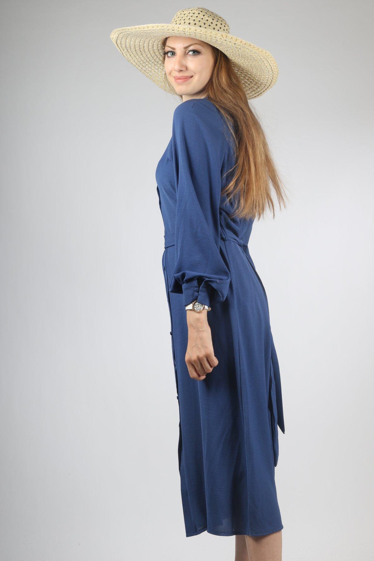Kol Ucu Manşet Düğmeli Elbise