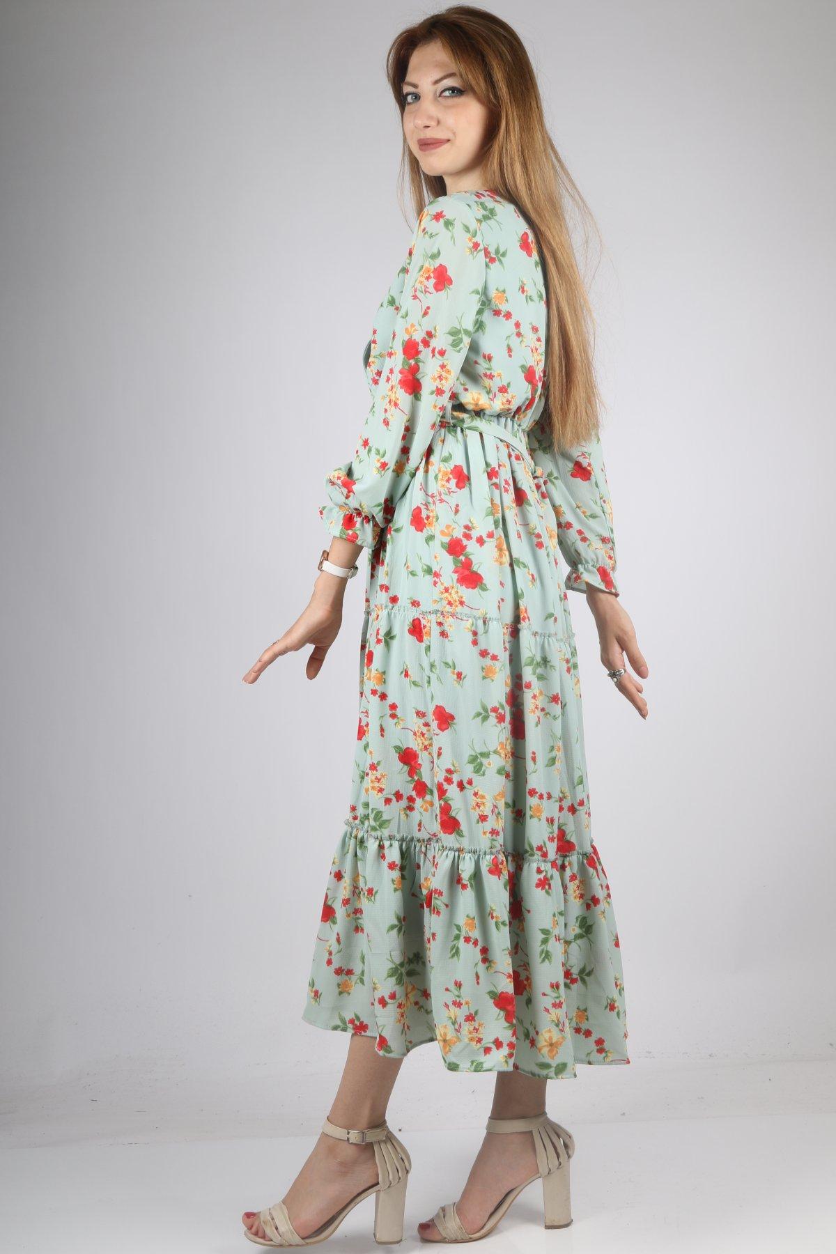 Kruvaze Çiçek Desen Elbise