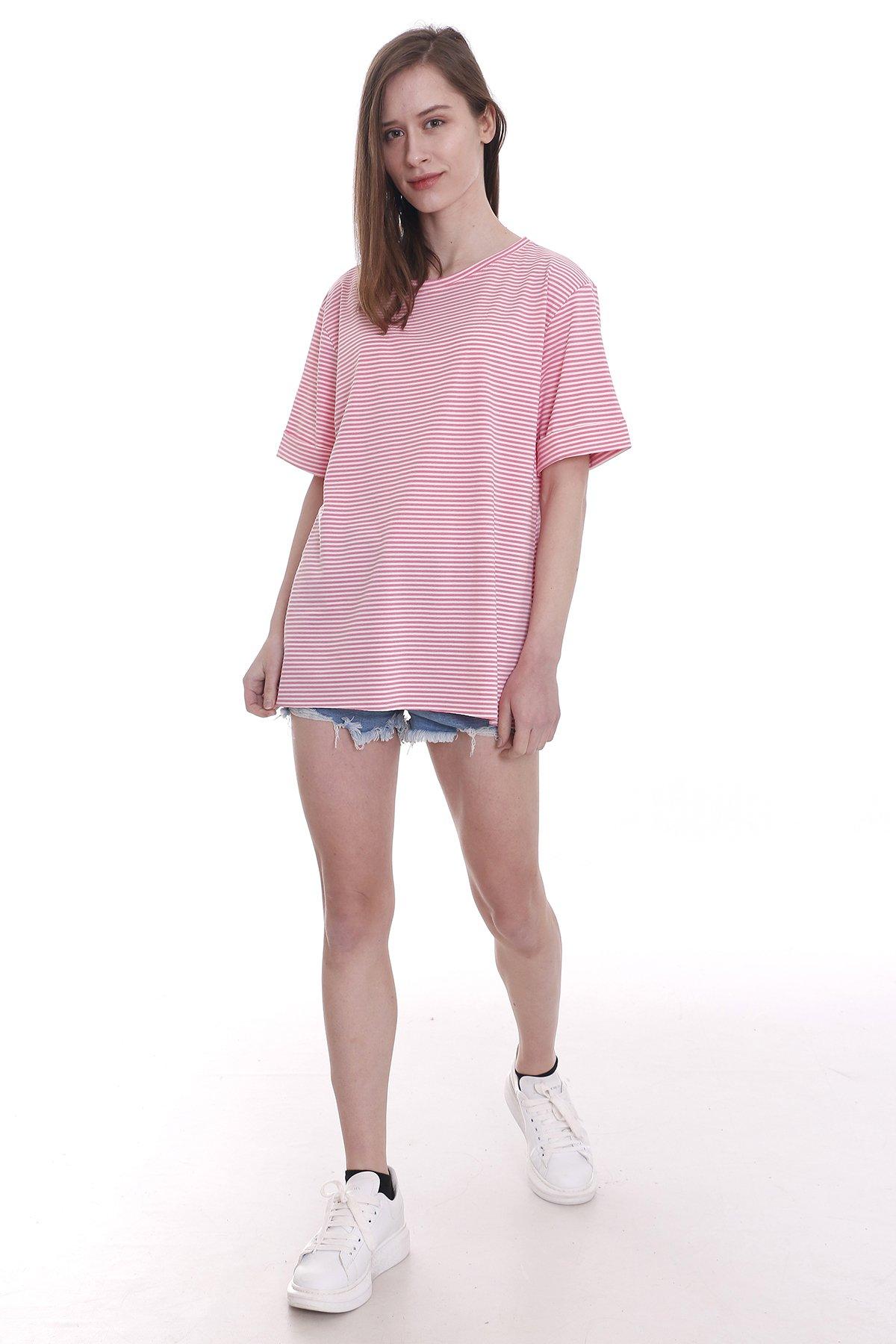 Yırtmaçlı Çizgili T-shirt