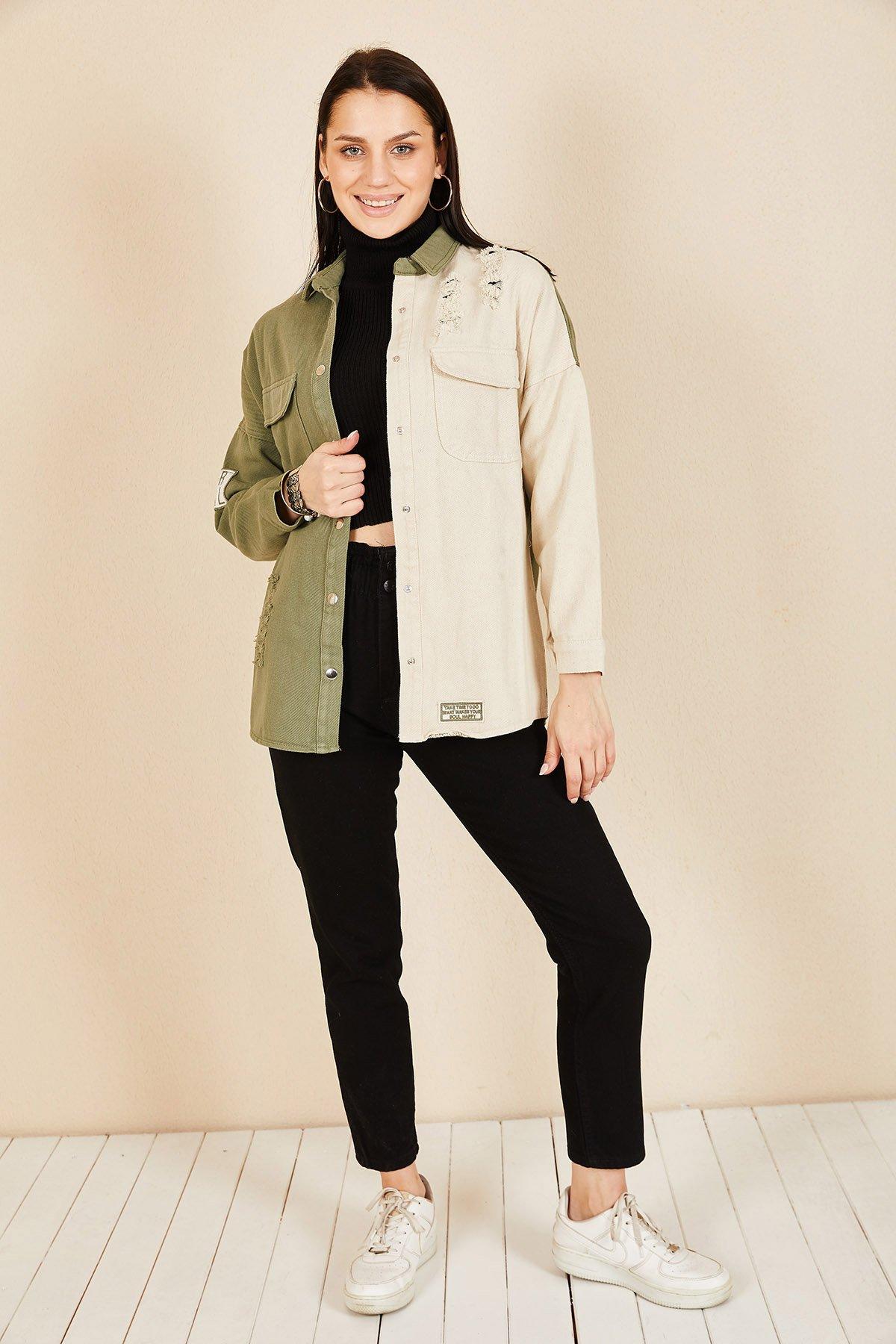 İki Renk Lazer Kesim Ceket