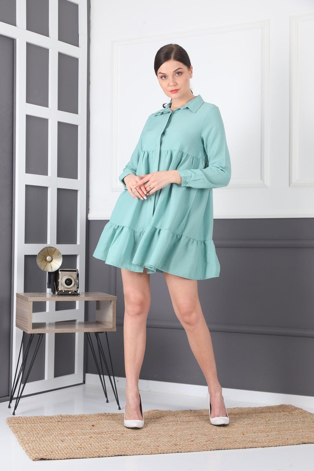 Düğmeli Ayrobin Gömlek Tunik