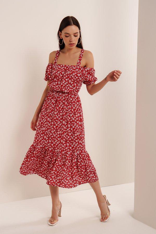 Çiçek Desen Askılı Elbise