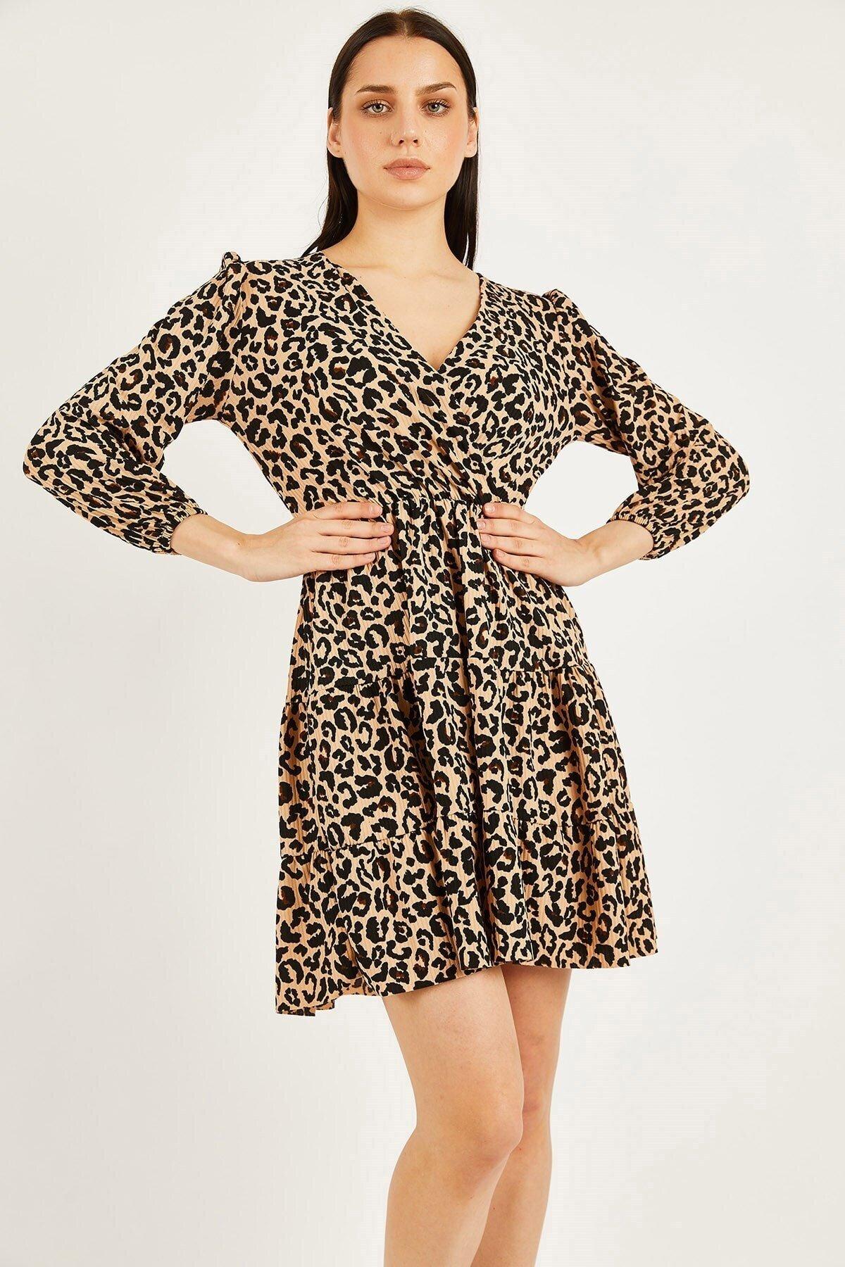 Leopar Desen Örme Krep Elbise