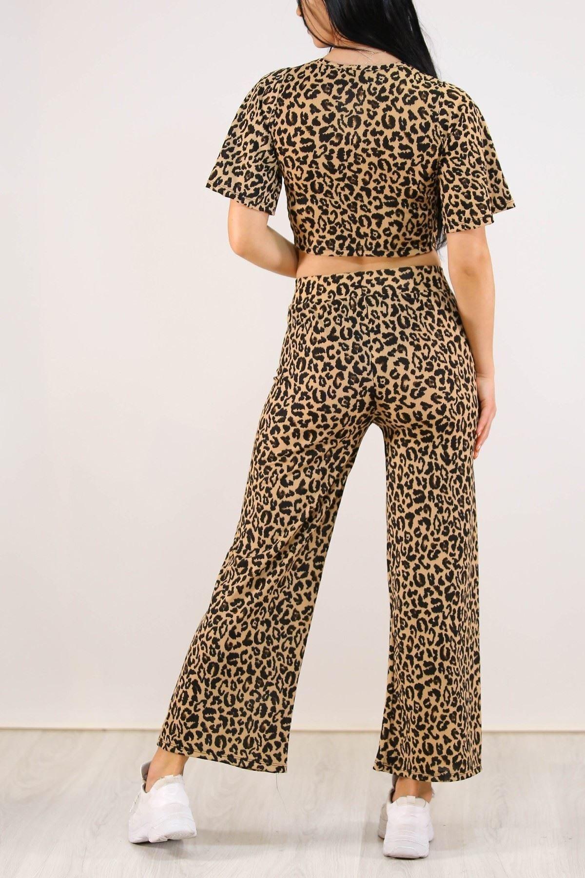 Kısa Kol Leopar Pantolon Takım