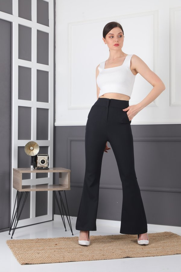 İspanyol Paça Cepli Fermuarlı Pantolon