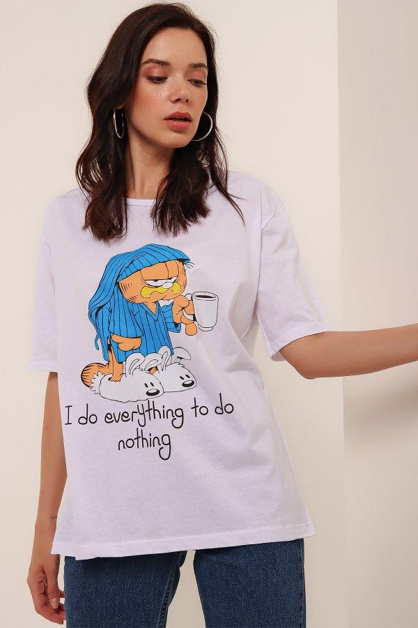 Hasta Garfield Baskı T-shirt