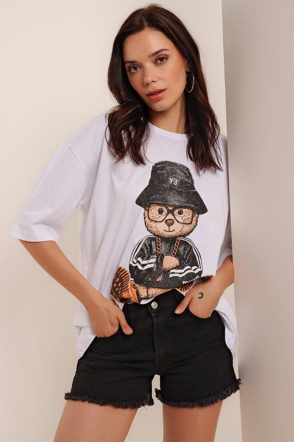 Gözlüklü Şapkalı Ayıcık T-shirt