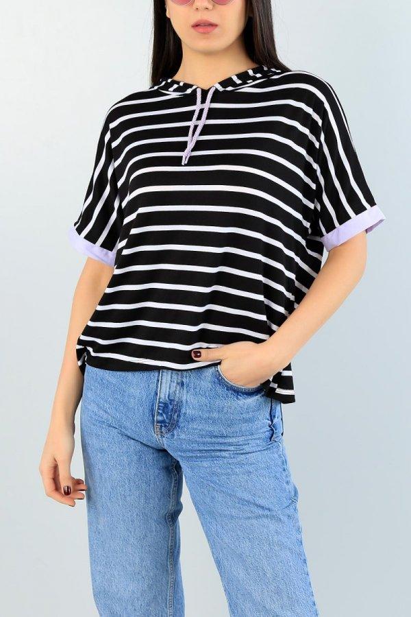 Çizgili Kısakol Kapüşonlu Sweat T-shirt