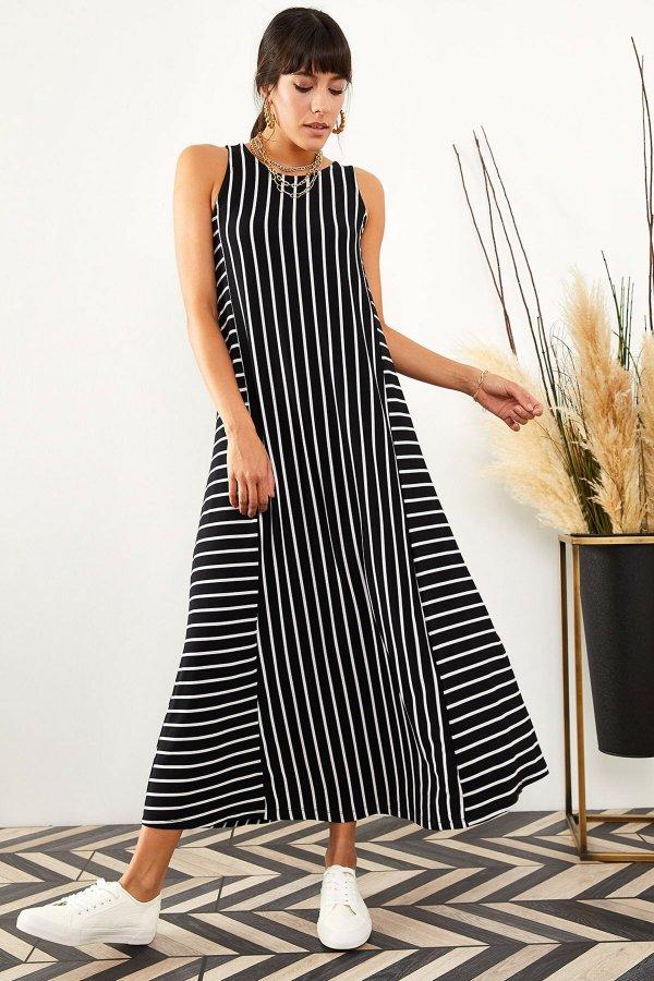Çizgili Sıfır Kol Elbise