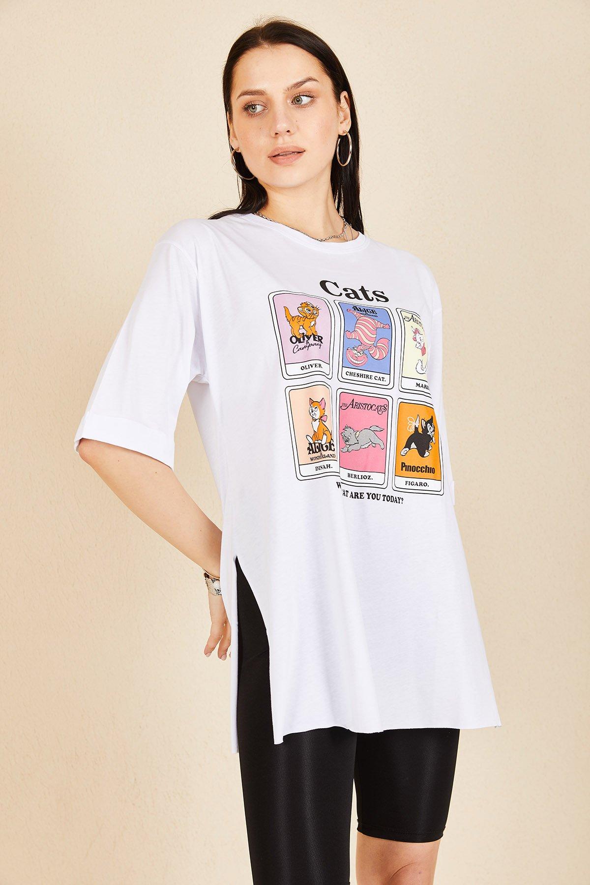 Kedi Baskı T-shirt