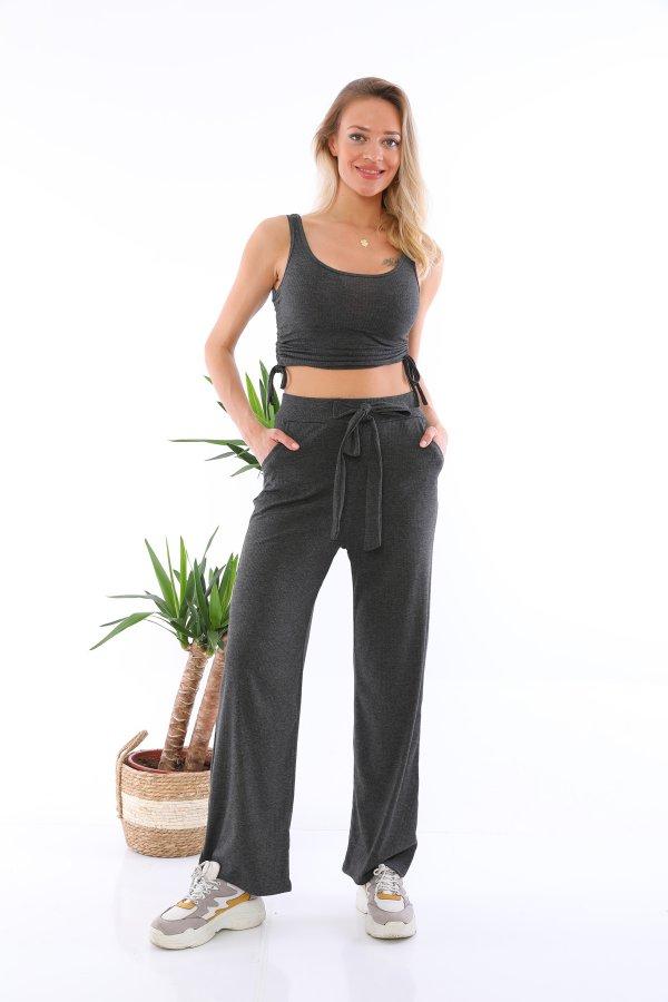 Askılı Bluz Pantolon Takım